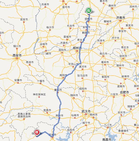 新乡——郑州——许昌——平顶山——南阳——襄阳