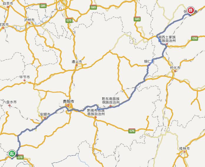 兴义去张家界自驾车自助游线路图( 全程高速): 张家界到周边旅游